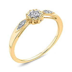 Diamond Promise Ring in 10K Yellow Gold (1/10 cttw, Colour GH, Clarity I2-I3) (Size-3)