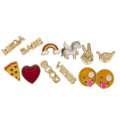 Lux Accessories Gold Tone Emoji Rainbow Verbiage Novelty Multi Earring Set 6PC