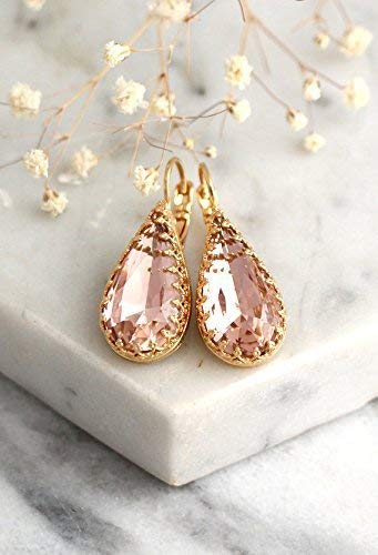 8212b049e Blush Pink Crystal Bridal Earrings, Dangle Teardrop Sparkly Earrings, Gold  Dainty Drops, Swarovski Wedding and Party Jewelry, Handmade Unique  Bridesmaids ...