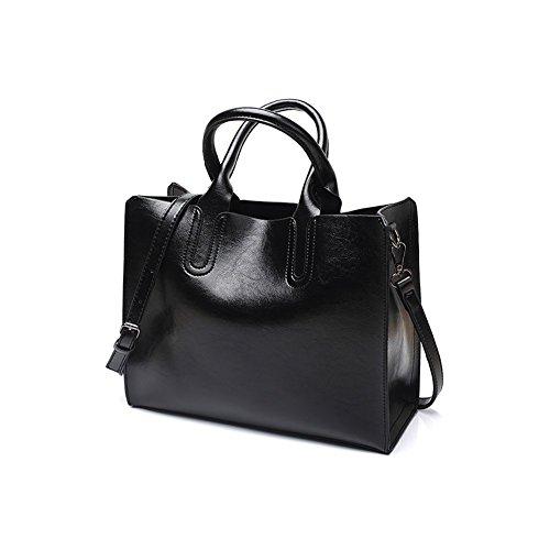 Bag Girls Oil Satchel Handbag Top Shoulder Wax Handbags Ladies with Elegant Vintage Handle Leather Bag Black Shoulder Fashion 6Ydnqd