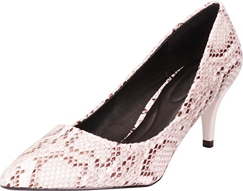 Cambridge Select Women's Classic Pointed Toe Slip-On Mid Kitten Heel Pump,6.5 B(M) US,White Snake PU]()