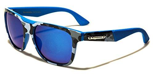 Camo Mirror lenses Wayfarer Sport Sunglasses (Blue Camo, - Sunglasses Wayfarer Camo