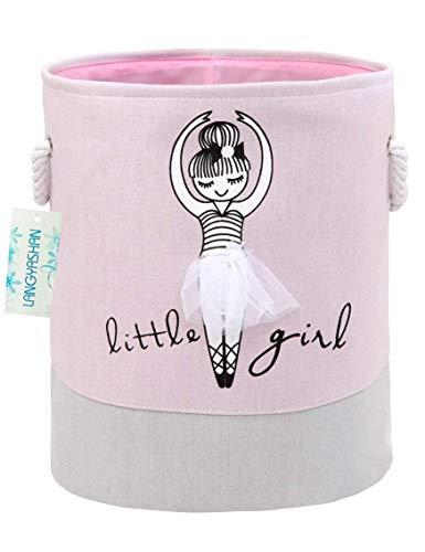 Storage Bin,Cotton Collapsible Pink Organizer Basket for Girls Laundry Hamper,Toy Bins,Gift Baskets, Bedroom, Clothes,Baby Nursery(Pink)