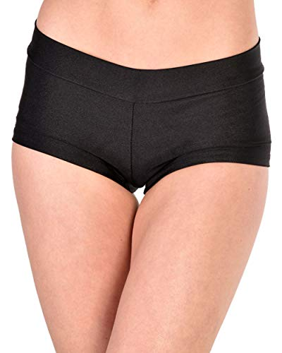 iHeartRaves Black Solid Rave Booty Shorts (Medium)