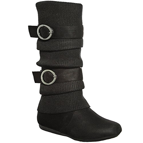 shoewhatever Slouchy Sweater Buckle Mid Calf Boot (8.5, black21) [Apparel]
