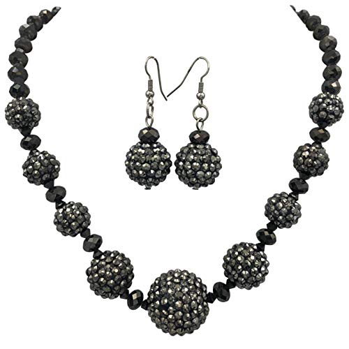 Gypsy Jewels Fireball Sparkle Bead Statement Unique Funky Flashy Bling Large Chunky Necklace & Dangle Earrings Set (Black Hematite Grey)