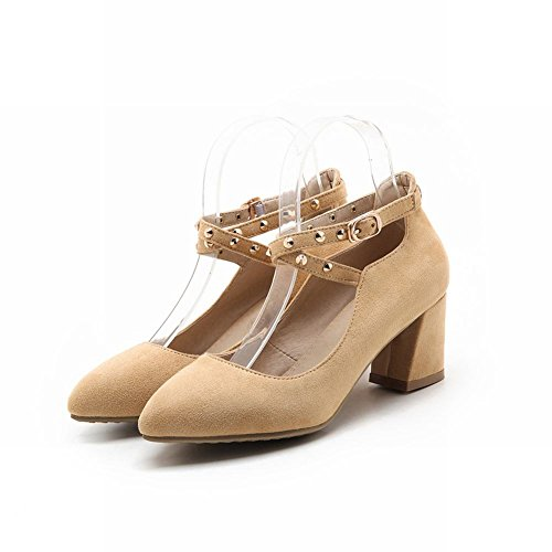 MissSaSa Damen Chunky heel cross Ankle-strap Pumps mit Nieten Aprikosen