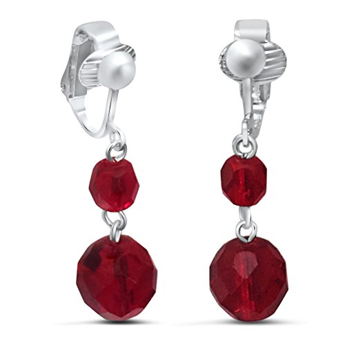 Crystal Dangle Clip Earrings (Handcrafted Dangle Red Crystal Clip Earrings for Women)