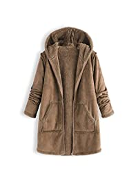 Sunmoot Hoodie Coat for Womens Plus Size Winter Warm Long Sleeve Pocket Oversize Parka Jacket(M~5XL)