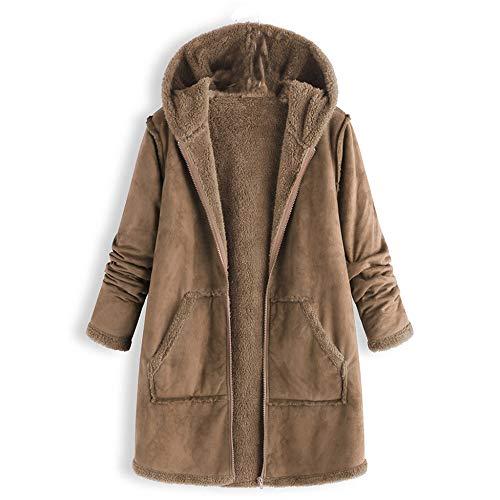 Sunmoot Hoodie Coat for Womens Plus Size Winter Warm Long Sleeve Pocket Oversize Parka Jacket(M~5XL) (XXXX-Large, A-Khaki)