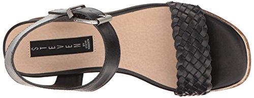 Steve Madden Steven by Women's Sabble Wedge Sandal Black Leather LaBZeNK8p