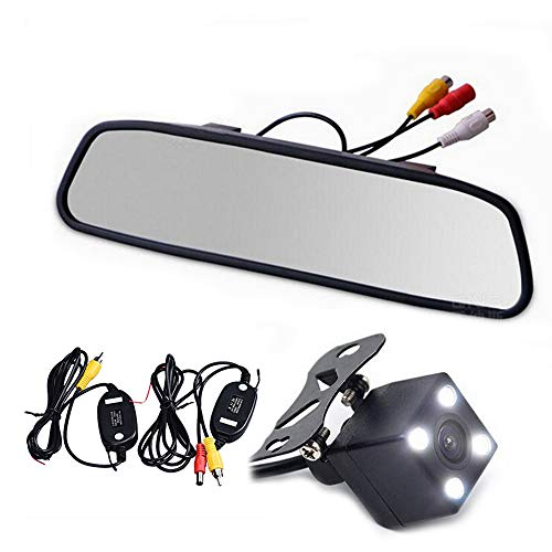 BOOMBOOST - All-in-one Wireless Parking Video Player Wireless Transmitter Receiver Kit Car Rear View Camera with 4.3' Mirror Monitor