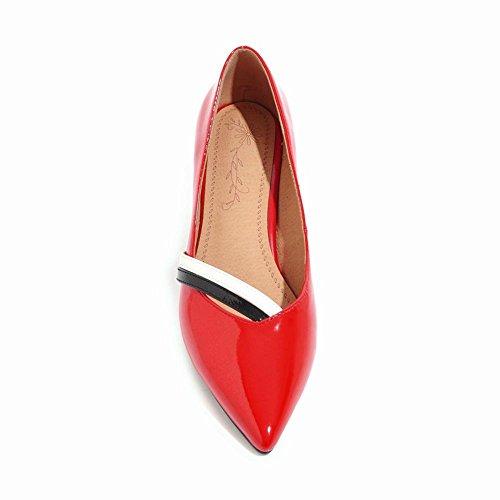 Mee Shoes Damen Kitten Heel Spitz Slip On Pumps Rot