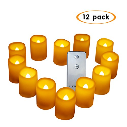 Bnlingxian Flameless Flickering Votive Candles with Remote,Electric Decorative LED Candles Set of 12 by Bnlingxian
