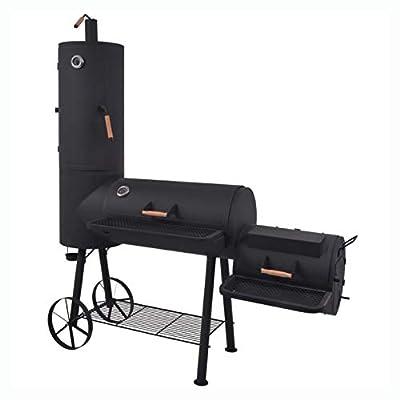 HomyDelight Outdoor Grill, BBQ Charcoal Smoker with Bottom Shelf Black Heavy XXL