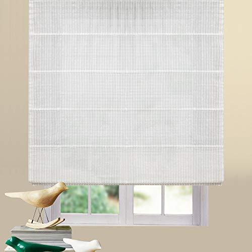 Artdix Roman Shades Blinds Window Shades - Stripe 28 W x 72L Inches (1 Piece) Linen Sheer Solid Fabric Custom Made Roman Shades for Windows, Doors, Home, Kitchen, Living Room ()