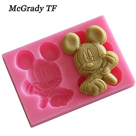 Molde de silicona con forma de Mickey Mouse para decoración de tartas y pasteles, de grado alimenticio, para Mac8,3 x 5,8 x 1,1 cm: Amazon.es: Hogar