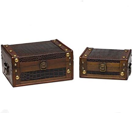 Juego de 2 Maletas de Madera Caja de Madera de Estilo Antiguo ...