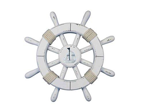Hampton Nautical Timón de Barco rústico Decorativo con Ancla, de Madera, 45.72 cm, Celeste y Blanco, velero, Blanco...