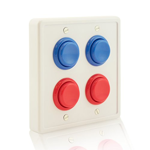 Price comparison product image Arcade Light Switch Plate Cover, (White/Red Red,Blue Blue) Double Switch, 2-Gang Standard Size Rocker Wall Plate, Game Room Decorator, Kid Bedroom Wallplate, Faceplate Replacement