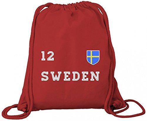 Sverige Sweden Fußball WM Fanfest Gruppen Premium Bio Baumwoll Turnbeutel Rucksack Stanley Stella Trikot Schweden Red