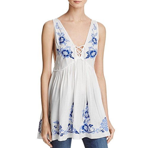Free People Womens Embroidered Lace-up Tank Top Ivory S from Free People