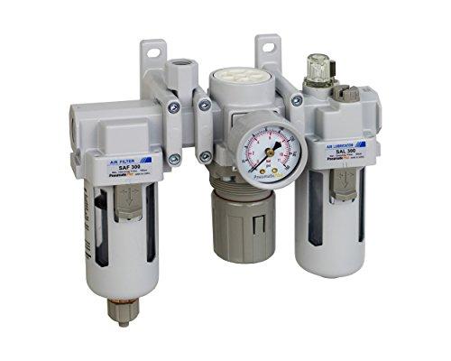 PneumaticPlus SAU300A-N03G - Dual Air System 3/8'' NPT - Air Filter, Regulator & Lubricator w/ Additional Free Air Port 1/4'' NPT - Manual Drain, Poly Bowl, Pressure Gauge by PneumaticPlus