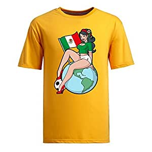 Custom Mens Cotton Short Sleeve Round Neck T-shirt,2014 Brazil FIFA World Cup Soccer Girls yellow