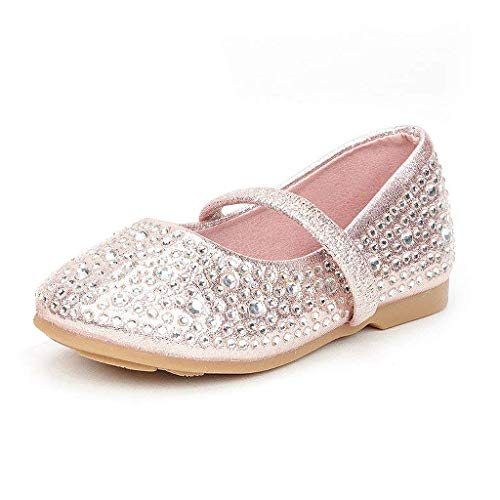 DREAM PAIRS MUY-Shine-INF Mary Jane Girls Rhinestone Studded Slip On Ballet Flats Toddler New Pink Size ()