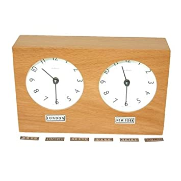 Dual Time Zone Desk Clock Amazoncouk Kitchen Home