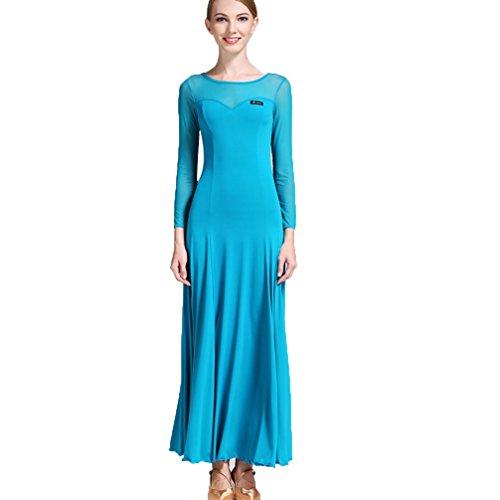 Pratica Stitching Nazionale Dello Per Gonna M Donna xl Valzer Di Tango Wqwlf Costume Blue Ballo Performance Mesh Abito Abbigliamento Sala Moderno Da Danza Standard zRPfUwq