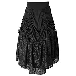 Women Steampunk Vintage Gothic Victorian Lace Patchwork Ruffled Bustle Skirt