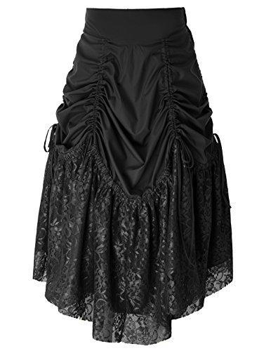 Belle Poque Rtro Jupe Vintage Plisse Femme Anne 50 Rockabilly pour Le Bal Bp575-1(schwarz)
