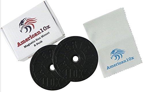 American10x Designed | 2-Pack | Magnetic Gun Mount | Rubber Coated Gun Magnet | Conceal Holder For Car, Truck, Bedside, Under Desk, Vault | Vehicle Pistol Holster | Handgun, Rifle, Shotgun, Revolver