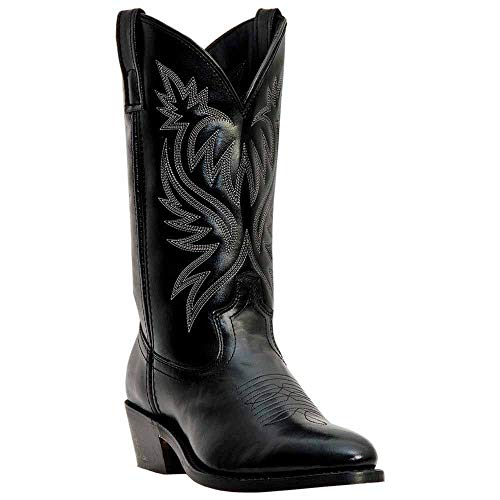 Laredo Mens Black Leather London 12in Sueded Outsole 10 D Mid-Calf Cowboy Boots