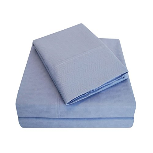 GoLinens Luxury 100% Wrinkle Resistant Basket Weave Embossed Design Solid Sheet Set with Two Pillowcases - Periwinkle - Queen
