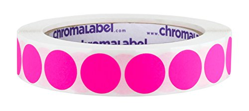 ChromaLabel 3/4 inch Removable Color-Code Dot Labels | 1,000/Roll (Fluorescent Pink)