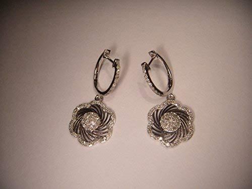 - Gorgeous Estate 14K Black Gold Pave Diamond Flower Drop Earrings