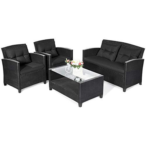 Tangkula 4 PCS Patio Conversation Set, Outdoor Rattan Sectional Sofa Set, Comfortable Thick Cush ...