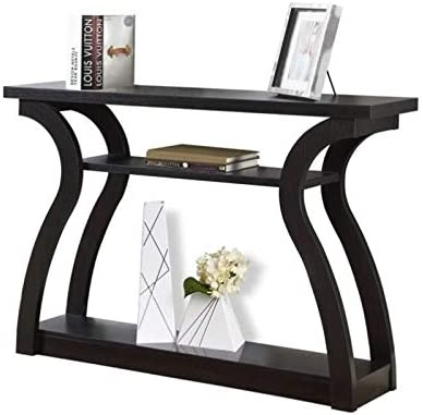 Pemberly Row 47 Three Tier Hall Console Accent Table in Cappuccino
