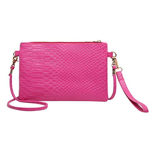 Lady Purses Faux Leather Crossbody Messager Bags BCDshop Women Shoulder Bags Handbags (Hot Pink) ()