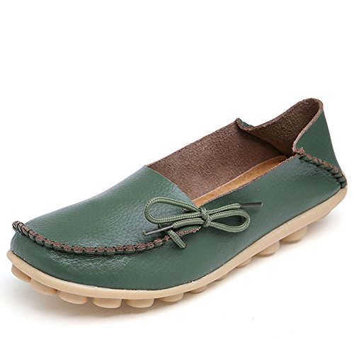 Fantiny Women's Genuine Leather Loafers Casual Moccasin Driving Shoes Indoor Flat Slip-On SlippersMMX1-Army green-40