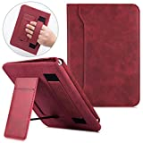 BOZHUORUI Case for All-New Kindle Paperwhite 10th Generation (fits All Paperwhite eReaders) - PU Leather Handheld Portable Stand Protective Cover with Auto Sleep/Wake (Red Wine)