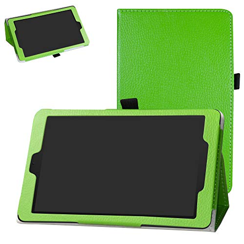 Alcatel 3T 8 Inch Tablet Case,Bige PU Leather Folio 2-Folding Stand Cover for T-Mobile Alcatel 3T 8 Inch Tablet(2018),Green