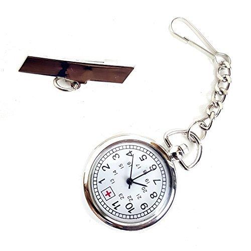 Silver Tone Nurse Watch Clip-On Brooch Pocket Second Hand