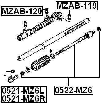 Bushing For Steering Gear For Mazda Gj6A32123 Febest