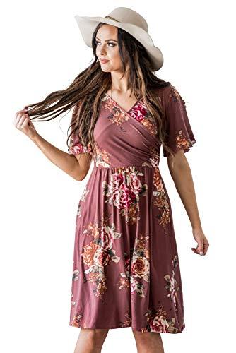 Dress Crossover Bodice (Mikarose Women's McKinley Cross Bodice Flutter Sleeve Modest Dress-Mauve Rose (X-Large))