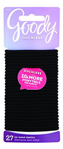 Goody Ouchless Women's Braided Elastic Thick, Black, 27 Count, 4MM for Medium Hair
