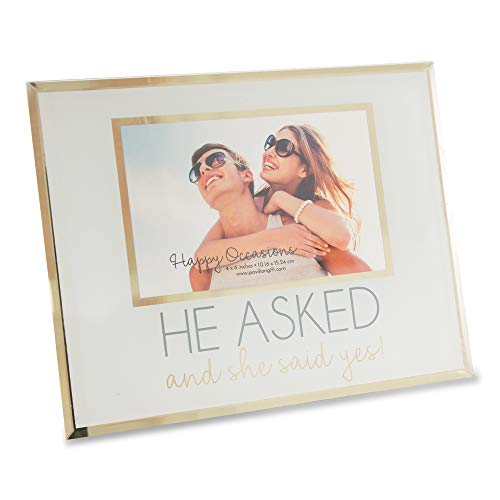 Pavilion Gift Company Pavilion-He Asked and She Said Yes-4x6 Glass White & Gold Engagement Picture Frame Grey