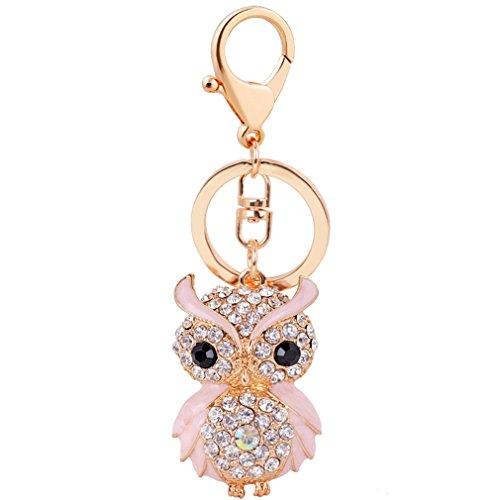 Aibearty Fashionable Creative Diamond Crystal Rhinestone Owl Keychain Bag Charm Pendent